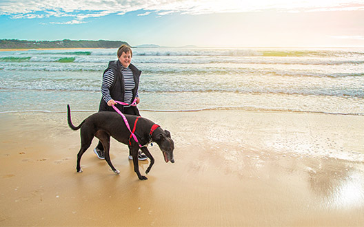 claire walking her family greyhound on the beach