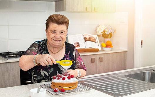 lyn baking in her shared living home