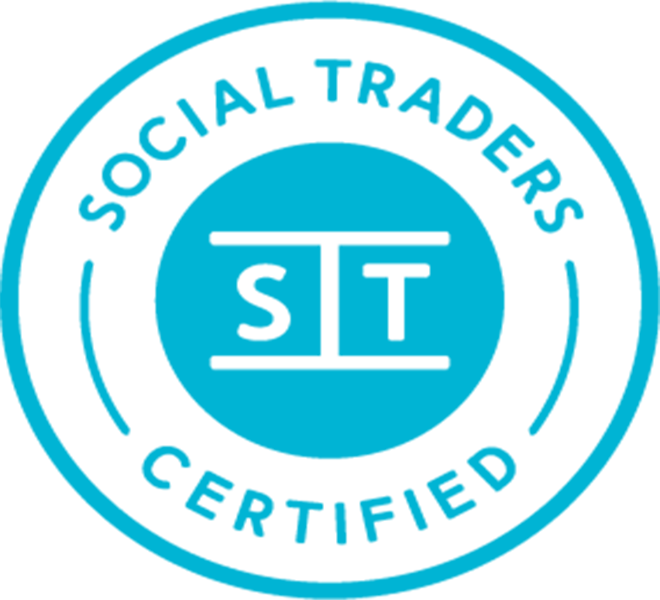 blue and white social traders certification badge