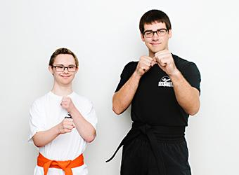 two people pretending to karate chop